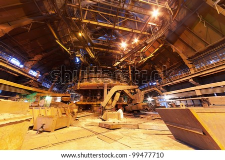 Panorama of blast furnace workshop of metallurgical plant