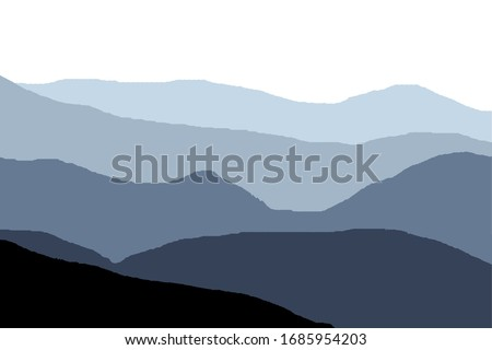 Panorama of blue mountains and hills, horizontal illustration of gradually changing blue shades. Сток-фото ©