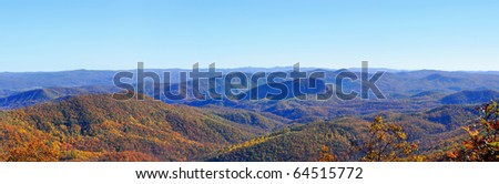 panorama of Blue Ridge Mountains with fall foliage