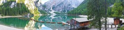 panorama of Boats on the Braies Lake in Dolomites mountains