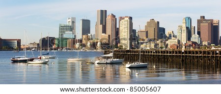 Panorama of Boston in Massachusetts. - stock photo