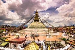 Panorama of Boudhanath Temple in Kathmandu, Nepal