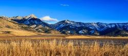 Panorama of Bridger mountain range near Bozeman, Montana. Photographed at sunset.