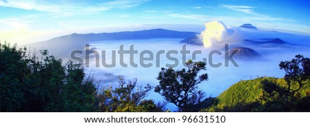 Panorama of Bro-mo mountain. Bro-mo mountain is one of the famous attraction in Indonesia. - stock photo