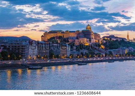 Panorama of  Budapest - Danube river  and  building of  Royal Palace (Budavári Palota)  from bridge Erzsebet  Stock fotó ©