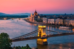 Panorama of Budapest, Hungary, with the Chain Bridge and the Parliament