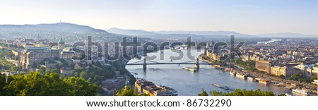 panorama of Budapest with Danube, Buda hill and Pest