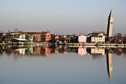 panorama of Burano with the leaning bell tower.