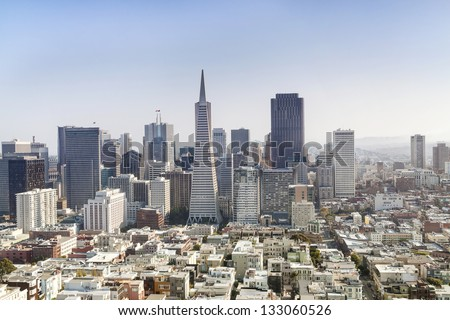 Panorama of Business Center in San Francisco.