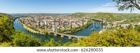 Panorama of Cahors, city of the south-west of France, built on the river Lot  #626280035