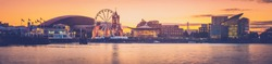 Panorama of Cardiff Bay at sunset in Wales, Uk.