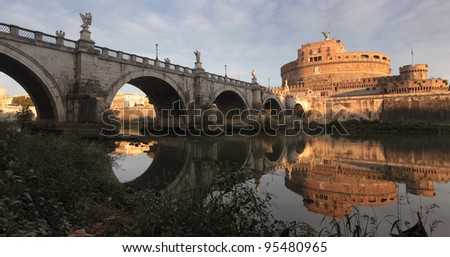 Panorama of Castle of the Holy Angel and bridge Sant Angelo on river Tiber, panoramic vie at sunrise,  Rome, Italy, Europe,