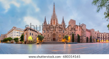 Panorama of Cathedral of the Holy Cross and Saint Eulalia during morning blue hour, Barri Gothic Quarter in Barcelona, Catalonia, Spain #680314165