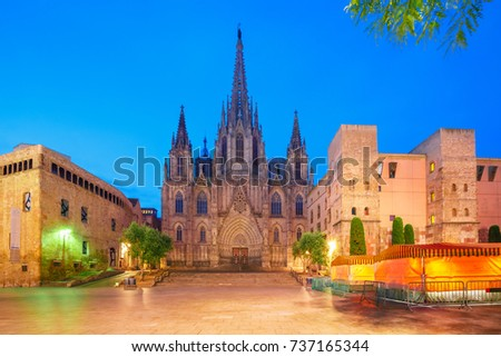 Panorama of Cathedral of the Holy Cross and Saint Eulalia during morning blue hour, Barri Gothic Quarter in Barcelona, Catalonia, Spain #737165344