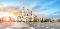Panorama of Cathedral square Kremlin, Moscow, Russia. Assumption Cathedral, the Church of Twelve Apostles, Faceted Chamber, Annunciation Cathedral and Ivan the Great Bell Tower at sunset