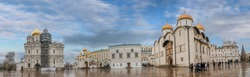 Panorama of Cathedral square Kremlin, Moscow, Russia. Assumption Cathedral, the Patriarch's Palace with Church of Twelve Apostles, Faceted Chamber, Annunciation Cathedral and Archangel Michael sobor