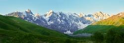 Panorama of Caucasian mountains of Svaneti