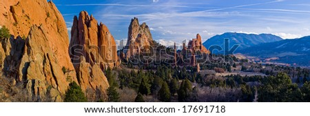 Panorama of Central Garden of the Gods near Colorado Springs, Colorado with Cheyenne Mountain (NORAD) in the distance