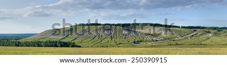 Panorama of chalk steppe in Stenki-Izgorya protected area, Belgorod region in southern Russia