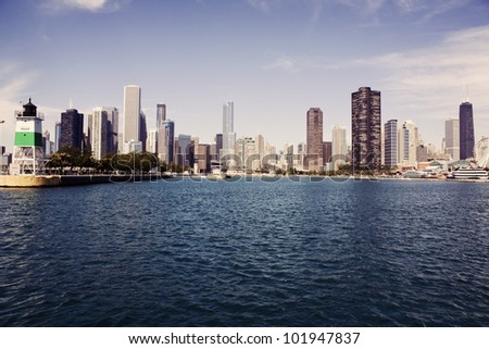 Panorama of Chicago seen from Lake Michigan - stock photo