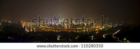 Panorama of Chongqing,Chinese in the night light