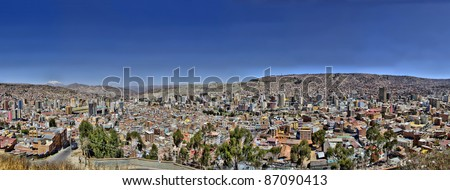 Panorama of City of La Paz Bolivia from Killi Killi Viewpoint. View of overpopulated crowded city slums with commercial district in the middle