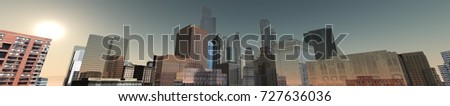 panorama of city, skyscrapers on sky background view from below, 3d rendering #727636036