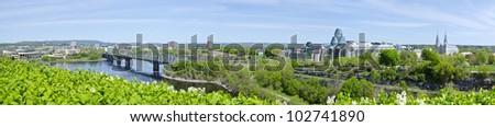 Panorama of Cityscape Behind Parliament Hill Ottawa Canada - stock photo