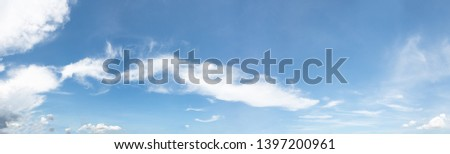 Panorama of clear blue sky with white cloud background. Clearing day and Good weather in the morning.