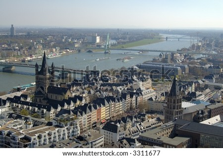Panorama of Cologne, Germany, with Rhine river, seen from cathedral
