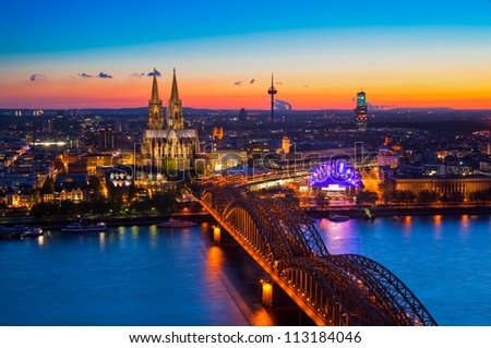 Panorama of Cologne, Germany with the cathedral - stock photo