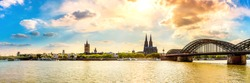 Panorama of Cologne with Cologne Cathedral and the Rhine on a beautiful summer day