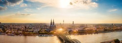 Panorama of Cologne with Cologne Cathedral and the Rhine on a beautiful summer evening
