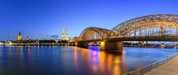 Panorama of Cologne with Great St Martin Church, Cologne Cathedral, Hohenzollern Bridge and the Rhine river