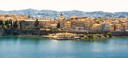 Panorama of Corfu island. View of the old town facades from water side