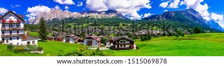 Panorama of Cortina d'Ampezzo- breathtaking mountain village and popular tourist destination in Dolomites Alps, northen Italy Foto stock ©