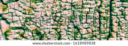 Panorama Of Damaged Plaster. Damaged Paint Texture. Crumpled Rusty Stucco. Cracked Wall Graffiti. Multicolor Concrete Wall. Mildew Aged Stucco.
