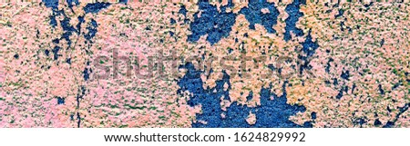 Panorama Of Damaged Plaster. Damaged Paint Texture. Mildew Aged Stucco. Cracked Wall Graffiti. Cracked Multicolor Concrete. Crumpled Rusty Stucco.