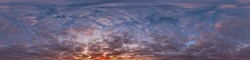 panorama of dark blue sunset sky with Stratocumulus clouds without ground, for easy use in game development, 3D graphics and composites in aerial drone 360 degree spherical panoramas as a sky dome