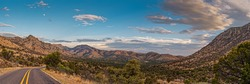 Panorama of Davis Mountains Scenic Loop near Sawtooth Mountain - Fort Davis Far West Texas