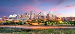 Panorama of Denver skyline long exposure at twilight.