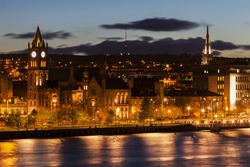 Panorama of Derry. Derry, Northern Ireland, United Kingdom.