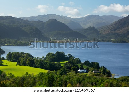 Panorama of Derwentwater in English Lake District from Castlehead viewpoint in early morning