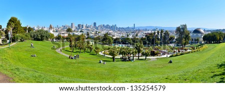 Panorama of Dolores Park, with Downtown San Francisco in Background