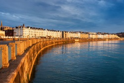 Panorama of Douglas at sunrise. Douglas, Isle of Man.
