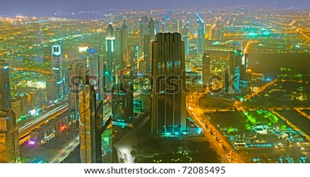 Panorama of down town Dubai city - UAE - stock photo