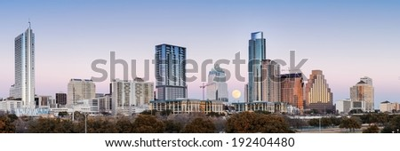 Panorama of Downtown Austin With Full Moon