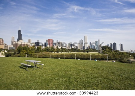 Panorama of Downtown Chicago, IL. - stock photo