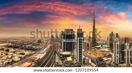 Panorama of downtown Dubai in a summer day, United Arab Emirates