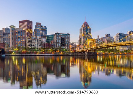 panorama of downtown pittsburgh ...